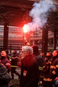 Les pompiers sont, dès le début de la manifestation, partis en sauvage.
