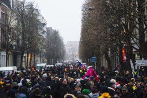 À la fin de parcours du cortège, les manifestants se rendent Place de la République