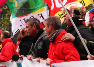 Manifestants en tête de cortège de la manifestation contre la réforme des retraites du 5 décembre 2019.
