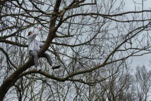 """Pour la photo finale, un des activiste prend la peine de grimper à un arbre. """"On ne pouvait pas amener de drone, on est juste à côté d'une base militaire !"""""""