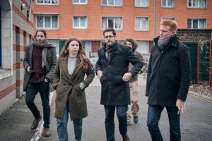 A 11h, Julien Poix est rejoint par Elodie Cloez, sa co-listière, et Adrien Quatennens, député du Nord proche de Jean-Luc Mélenchon. Aurélien Lecoq, investi depuis le début dans la campagne du collectif, les accompagne.