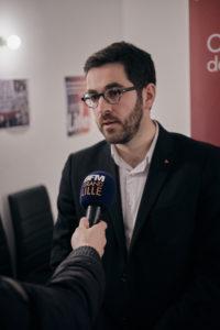 """Julien répond aux questions des médias -Voix du Nord et BFMTV. """"Il n'est pas encore question de parler d'alliance, on ne sait même pas si le second tour va avoir lieu."""""""