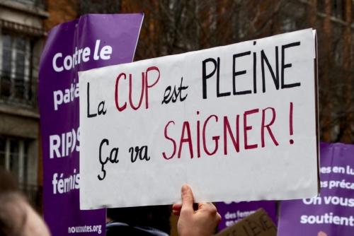 Au milieu d'une vague violette, certaines pancartes se distinguent. ©Laura Beaudoin