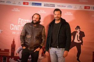 Dernier photocall du festival avec Vincent Macaigne (à gauche) et Laurent Lafitte.
