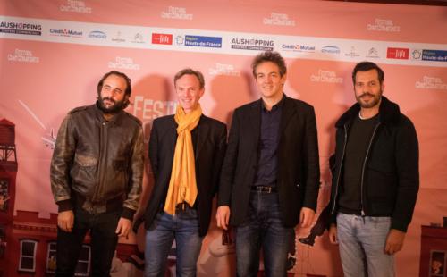 Laurent Lafitte (à droite) en compagnie de Vincent Macaigne (à gauche) de Yann Marchet et Jérémie Imbert, co-fondateurs du festival.